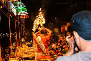 Ganga Aarti @Varanasi Ghat on the eve of holi: Picturesque